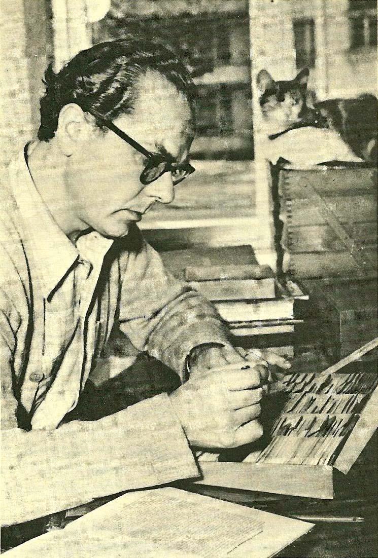Norbert Barth, Arno Schmidt mit Kater Hintze an Zettels Traum, ca. 1955