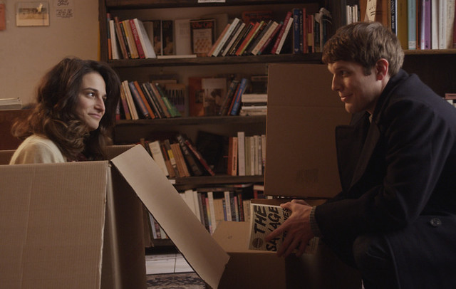 Jenny Slate and Jake Lacy have a little complication between them in Obvious Child.