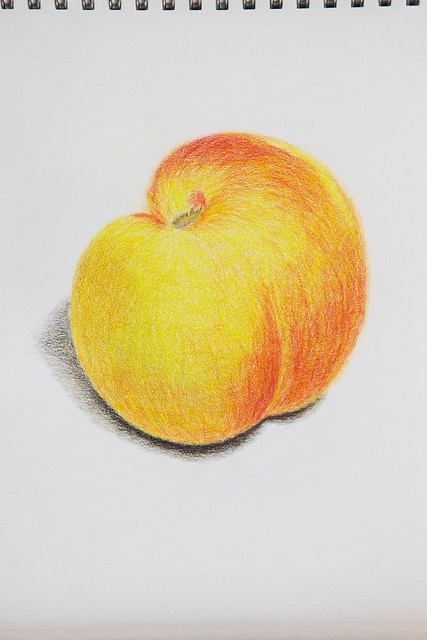 peach, drawing, A5, colored pencils