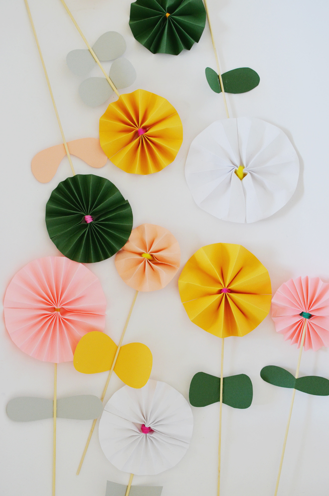 accordion-fold paper flowers