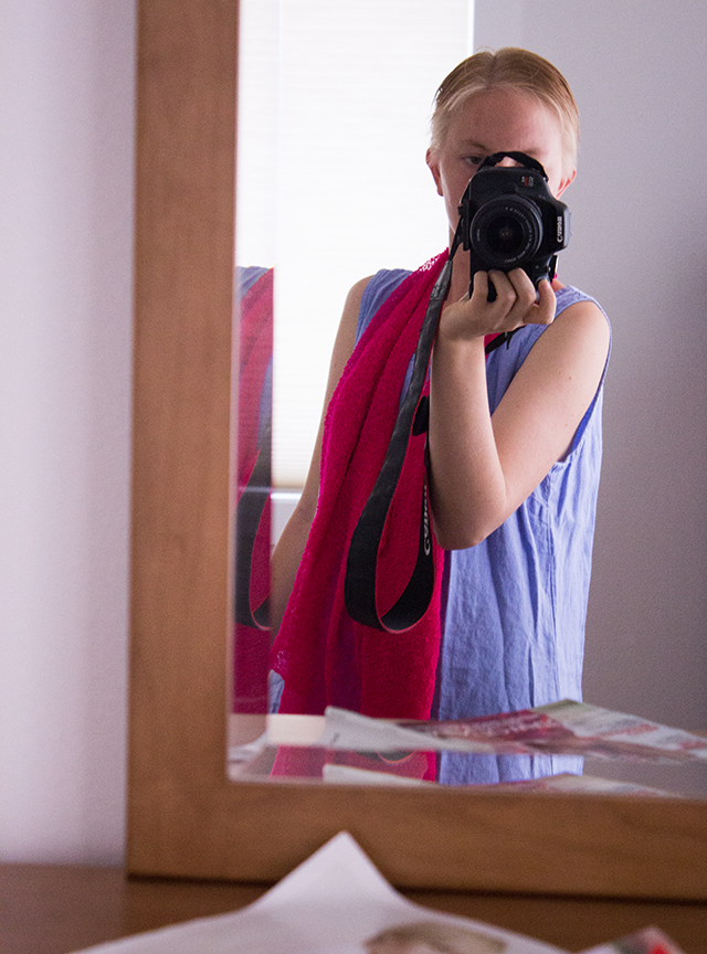 mirror selfie, pink scarf and blue sleeveless dress