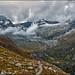 Obergabelhorn ( 4,073 m alt), and the Triftgletcher in the storm. The Hôtel du Trift is overbooking....No. 2587. ! ) by Izakigur