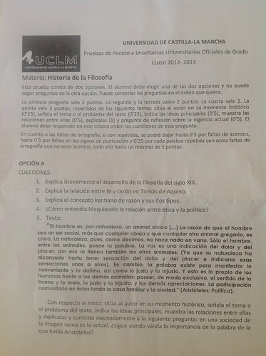 Opción A del examen de Filosofia de la PAEG. Junio de 2013