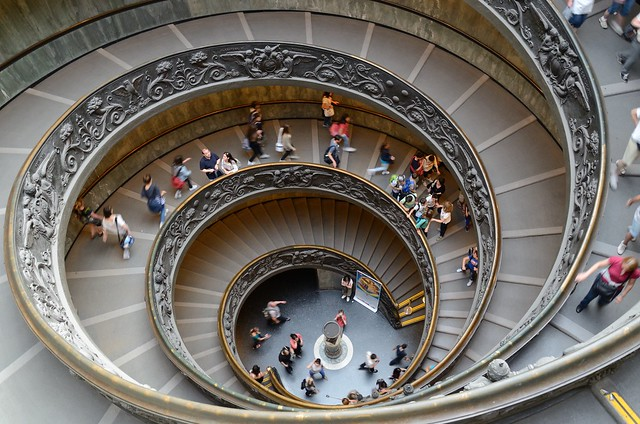 spiral stairs in Vatican Museum