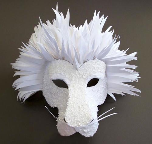 white paper lion mask