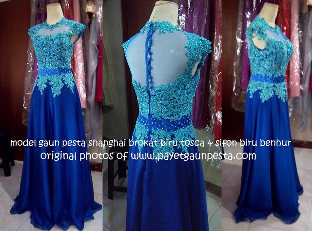 gaun pesta shanghai brokat biru tosca dan sifon biru ...