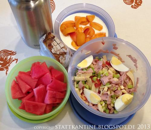Stattkantine 9. Juli 2013 - Wurstsalat, Wassermelone, Rhabarberschorle