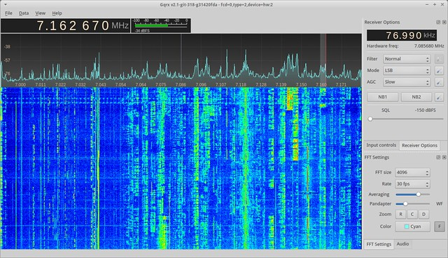 Gqrx receiving the 7 MHz band using the Funcube Dongle Pro+