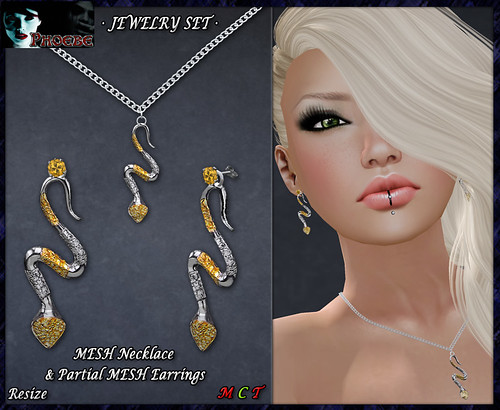 P Snake Jewelry Set- Necklace & Earrings (P-MESH)