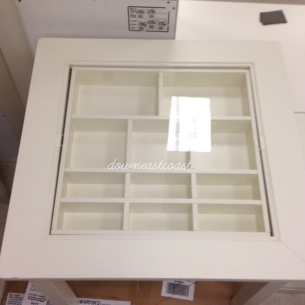 new pottery barn kids carolina collectors table white acrylic top w 11 cubbies ebay. Black Bedroom Furniture Sets. Home Design Ideas
