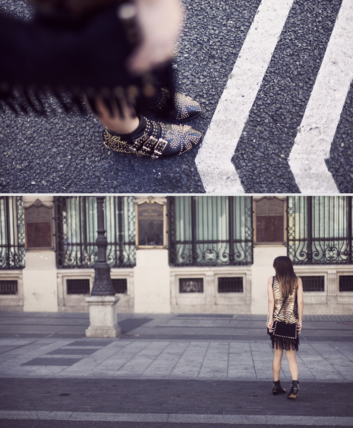street style print and black barbara crespo mango choies madrid outfit