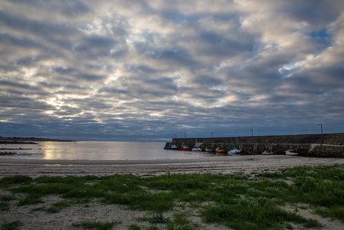 ireland sea sky galway beach clouds sunrise boats pier