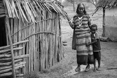 Mother and son pastoralists posing for the camera in Borana