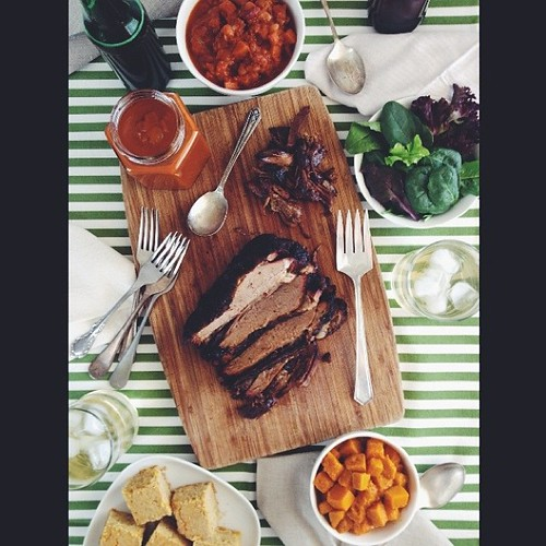 The full spread in daylight #bbq #barbeque #brisket #bestwifeever #vscocam