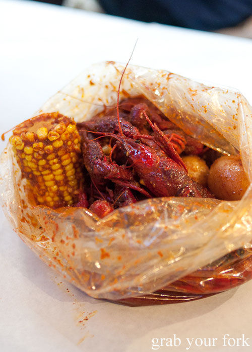 crawfish corn potato boil in the bag Seafood Boiling Crab Korea Town Los Angeles California