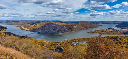 travel bridge autumn trees sky panorama newyork color fall metal river print landscape photography photo scenery colorful gallery unitedstates image cloudy pano fineart scenic picture panoramic canvas bearmountain foliage hudsonriver bearmountainbridge bearmountainstatepark tomkinscove mikeorso