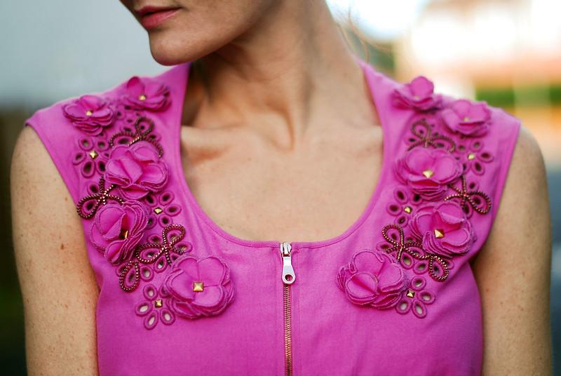 Pink Mulberry flower detail dress
