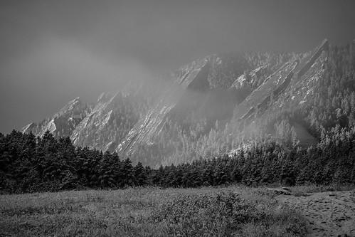 mist flatirons winterstorm bouldercolorado chautauqua