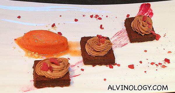 Dessert choice 2: Chocalate, Beetroot - blood orange sorbet