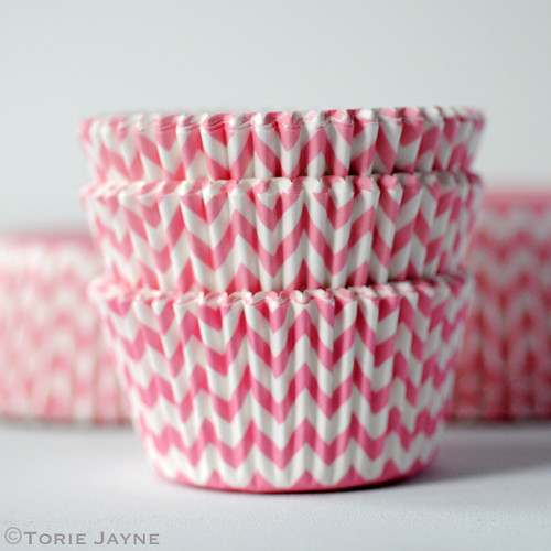 Pink & white chevron stripe cupcake cases