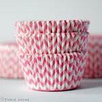 Pink & white chevron stripe cupcake cases