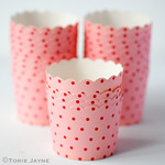 Pink & red spot baking cups