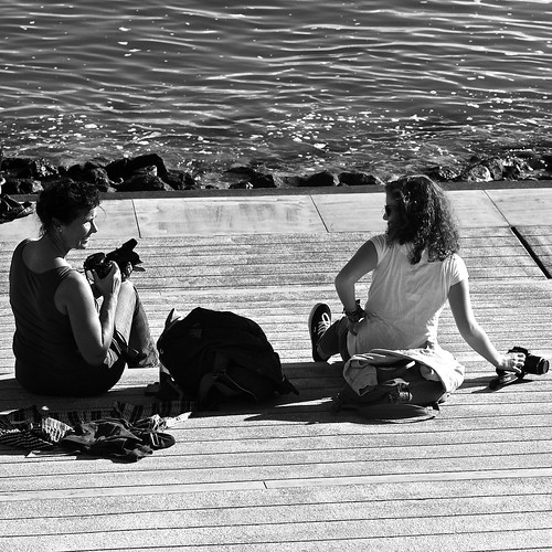 Two woman photographers