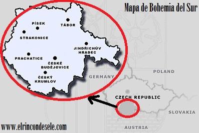 Mapa de Bohemia del Sur (República Checa)