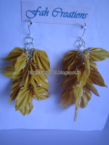 Handmade Jewelry - Origami Paper Leaves  Earrings (Yellow) by fah2305
