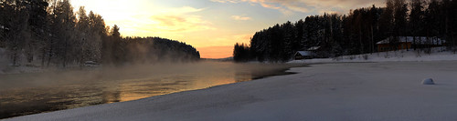 winter panorama mist snow fog sunrise jyväskylä vaajakosi