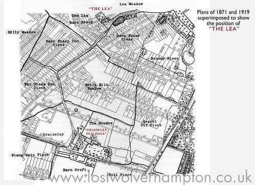 The urban plan of 1919 superimposed on a rural plan of the same place of 1871.