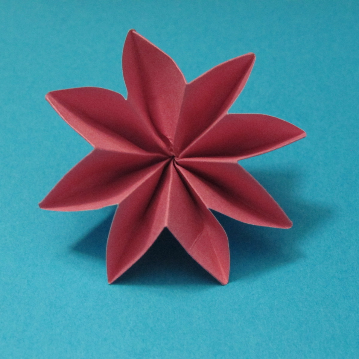 วิธีการพับกระดาษเป็นดอกไม้แปดกลีบ 019