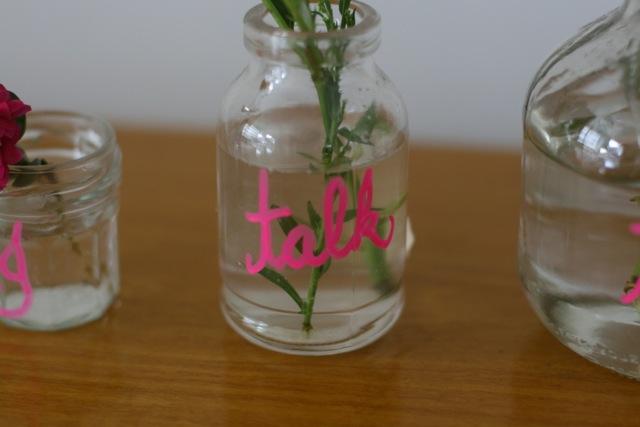 Potes de vidro+giz líquido