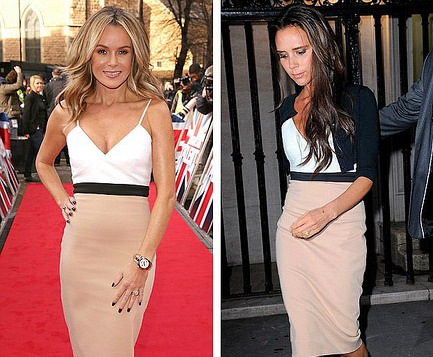 Who wore Victoria Beckham colour block dress better? Amanda Holden or  Victoria Beckham?