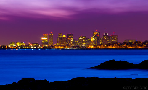 Boston Skyline and Winthrop over Lewis Cove and Broad Sound, Late Dusk in Nahant MA by Greg DuBois Photography
