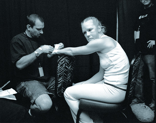 A black and white portrait of New Mexican boxer Holly Holm by Delilah Montoya.