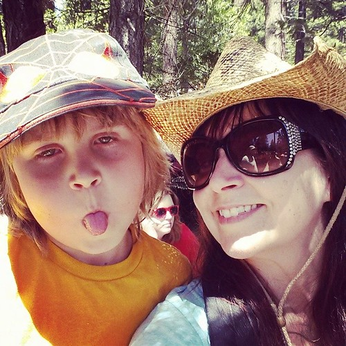 Asher,  me, and photo bomber #rennfaire #tahoe #summer #7yearold #mamaandbaby #mamainthepicture
