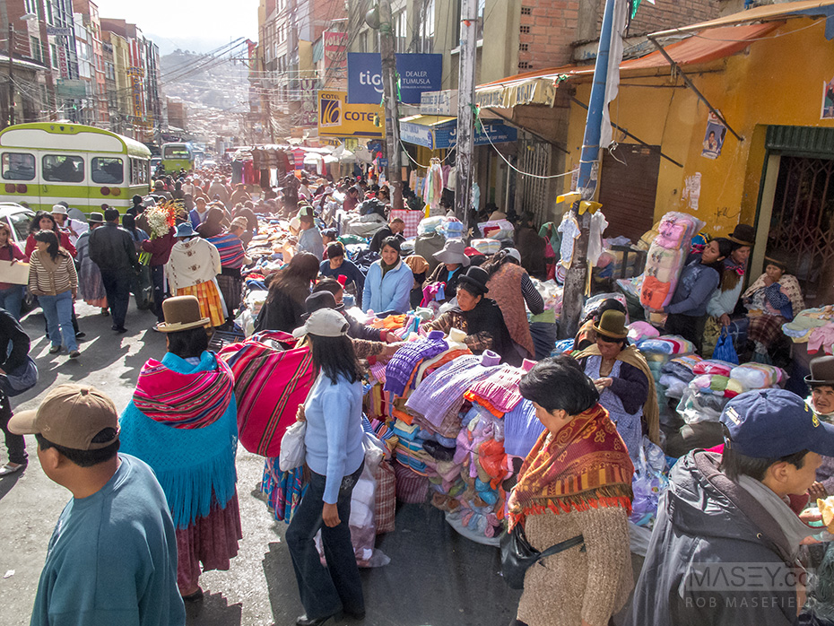 Busy times on the streets of La Paz.