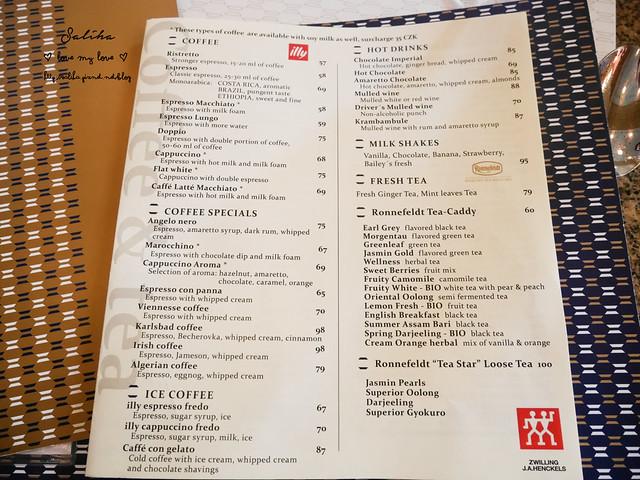 布拉格Cafe Imperial 帝國咖啡館 世界最美十大咖啡館菜單