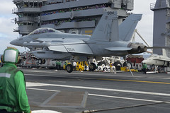 An EA-18G Growler assigned to Electronic Attack Squadron (VAQ) 142 lands aboard USS Nimitz (CVN 68), Oct. 15. (U.S. Navy/PO2 Eli K. Buguey)