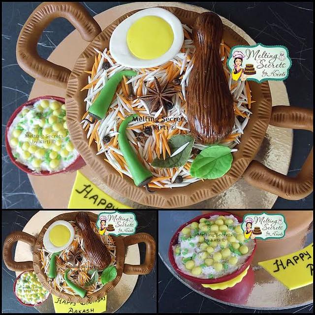 Indian Hyderabadi Chicken Biryani Cake by Kirti Darolo of Melting Secrets by Kirti