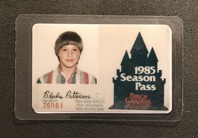 my 1985 Busch Gardens seasons pass