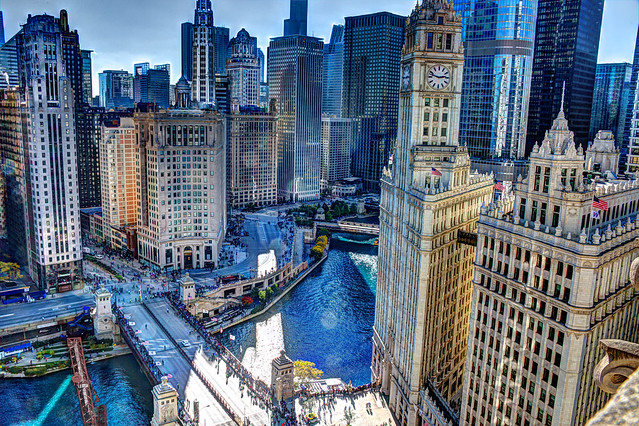 Chicago River dyed blue for Cubs World Series championship parade (aerial view)