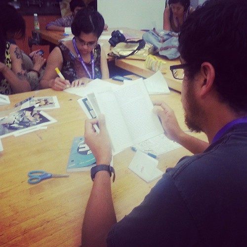Folks making and reading #zines at our #amc2013 #makezines session with MOONROOT and Adela C. Licona