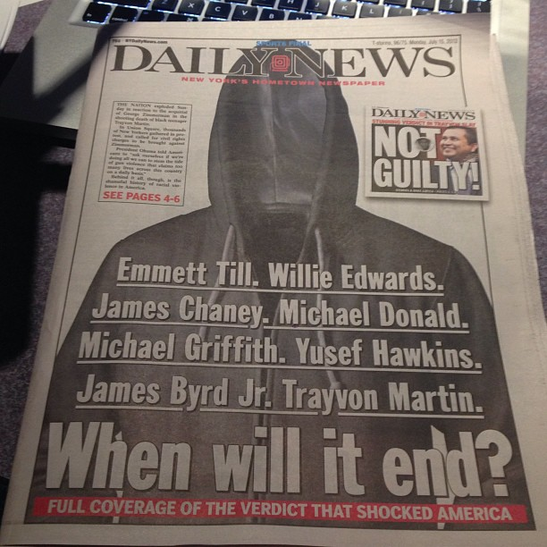 daily news trayvon martin hoody cover