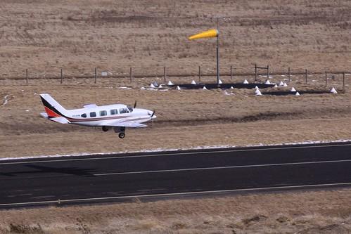 Piper PA-31-310 Navajo VH-OYM departs Mount Hotham