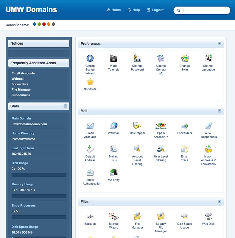 UMW Domains Control Panel Home