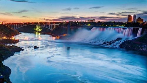 night sunrise niagarafalls waterfall bluehour rainbowbridge americanfalls niagarariver morningbluehour pwpartlycloudy