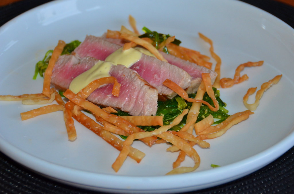 Seared Tuna, Seaweed Salad, and Crispy Wontons