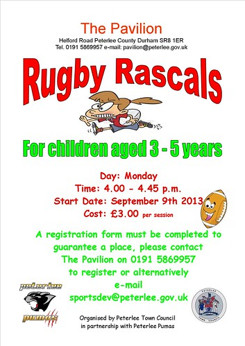 RUGBY RASCALS STARTS MONDAY